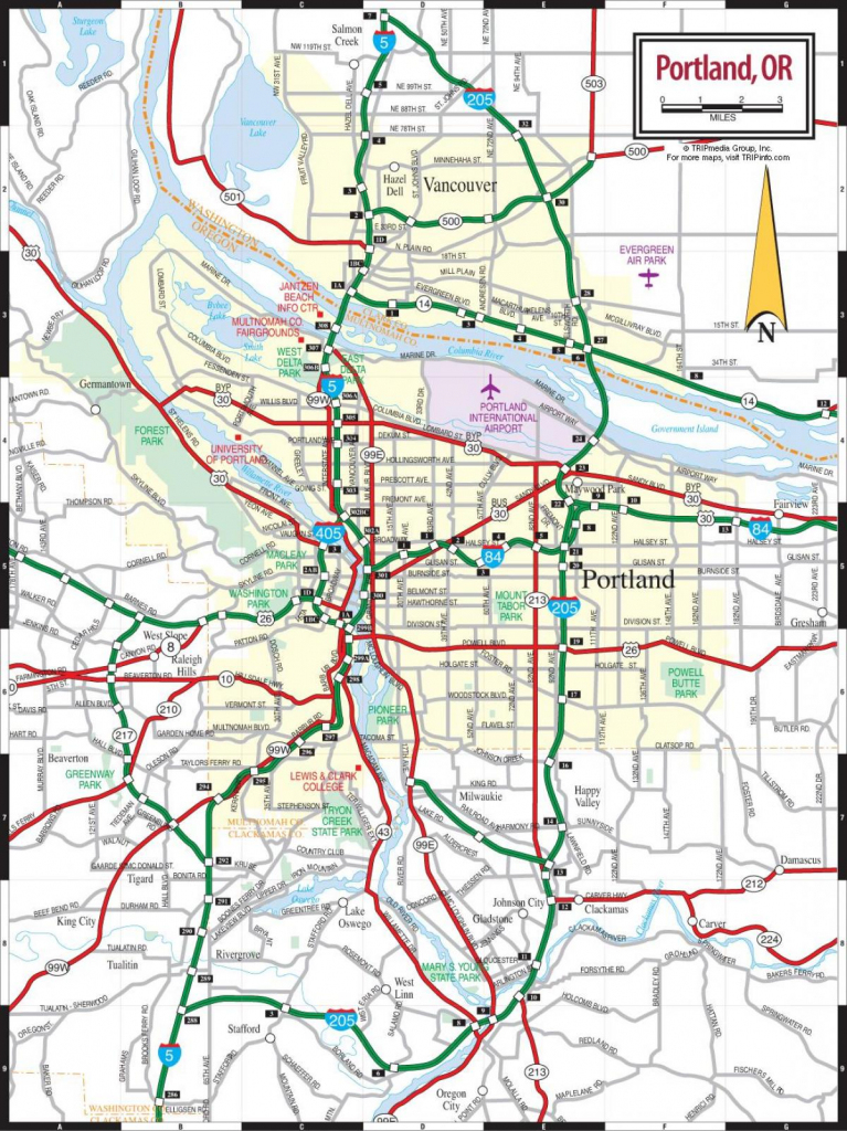 Portland Oregon Map - Map Of Portland Oregon (Oregon - Usa) intended for Printable Map Of Portland Oregon
