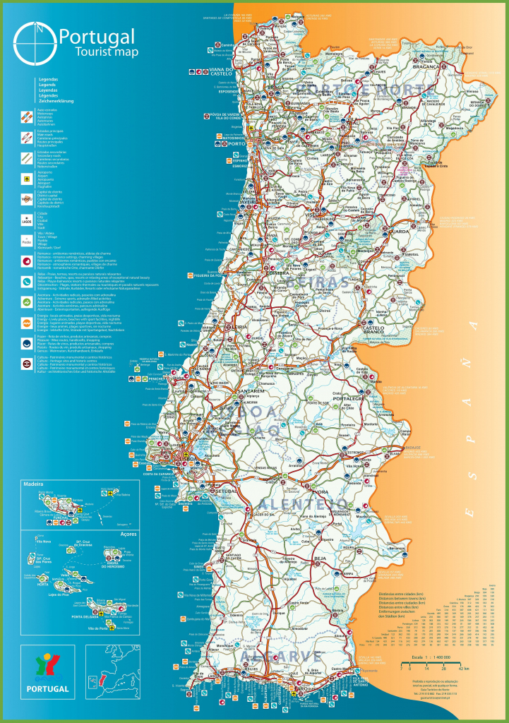 Portugal Tourist Map within Printable Map Of Portugal