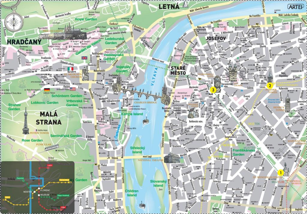 Prague Center Map - Map Of Prague City Centre In English (Bohemia for Printable Map Of Prague City Centre