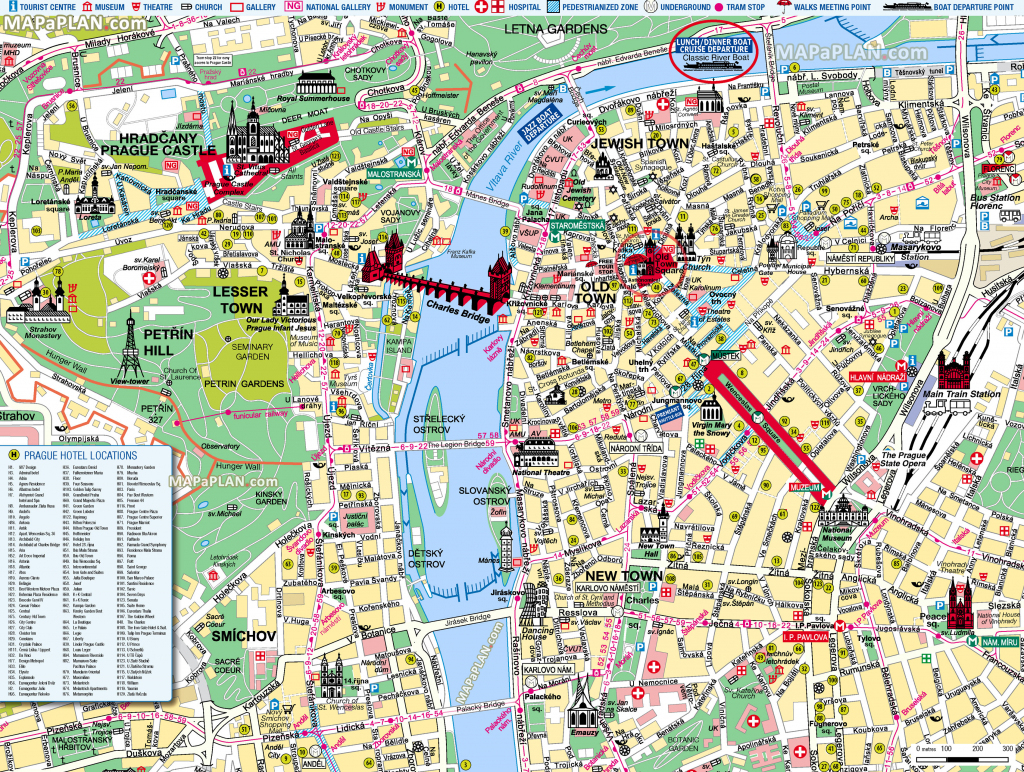 Prague Maps - Top Tourist Attractions - Free, Printable City Street Map for Prague City Map Printable