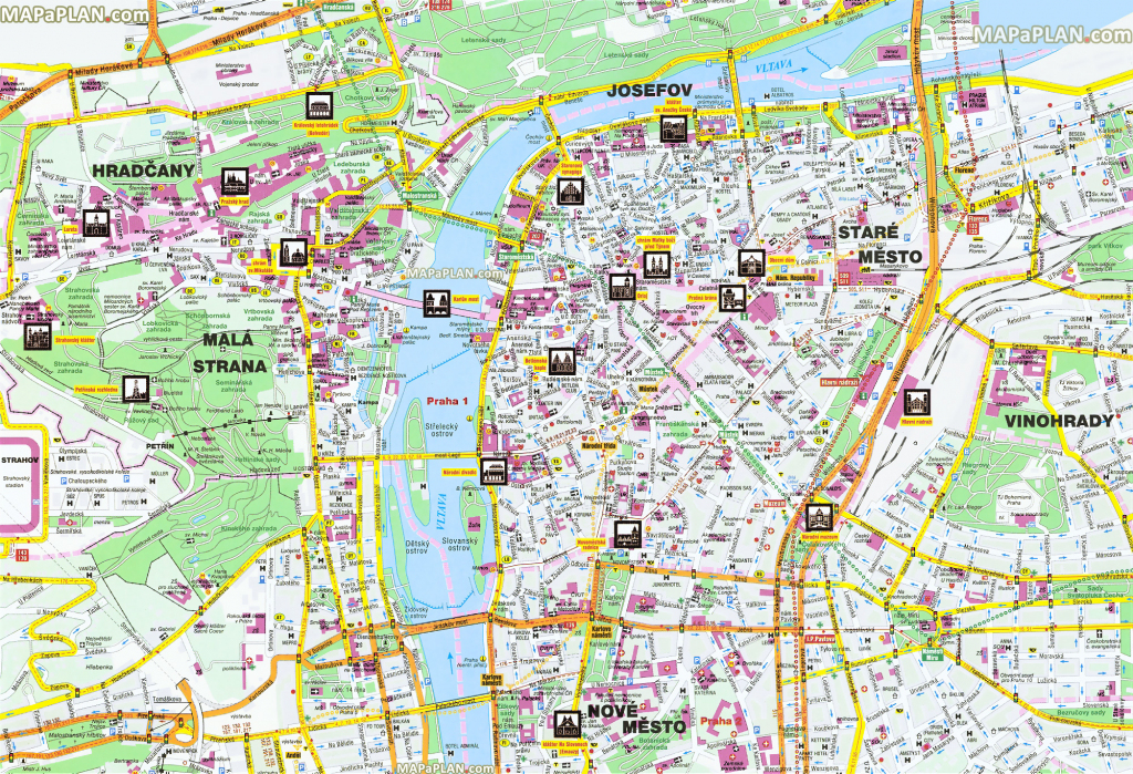 Prague Maps - Top Tourist Attractions - Free, Printable City Street Map in Prague City Map Printable