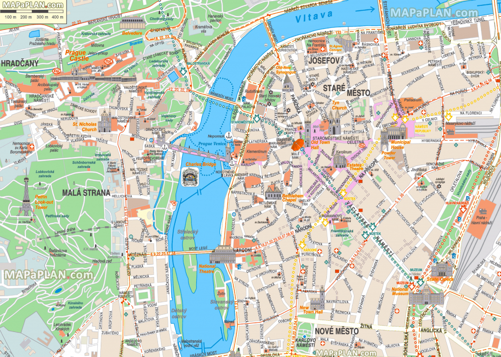 Prague Maps - Top Tourist Attractions - Free, Printable City Street Map within Printable Map Of Prague City Centre