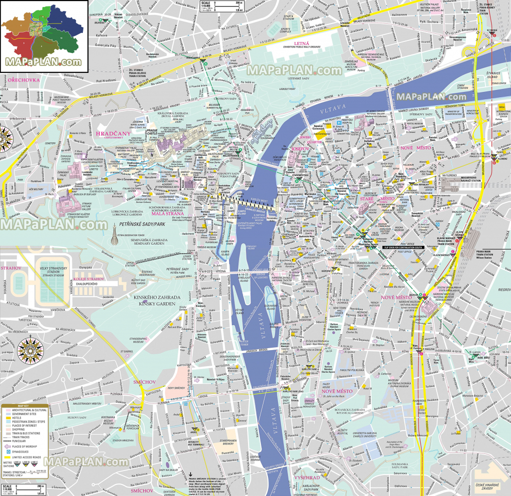Prague Maps - Top Tourist Attractions - Free, Printable City Street Map within Printable Map Of Prague