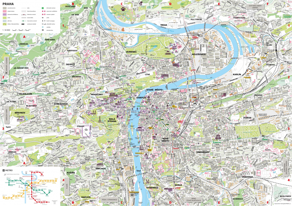 Prague Tourist Map for Printable Map Of Prague