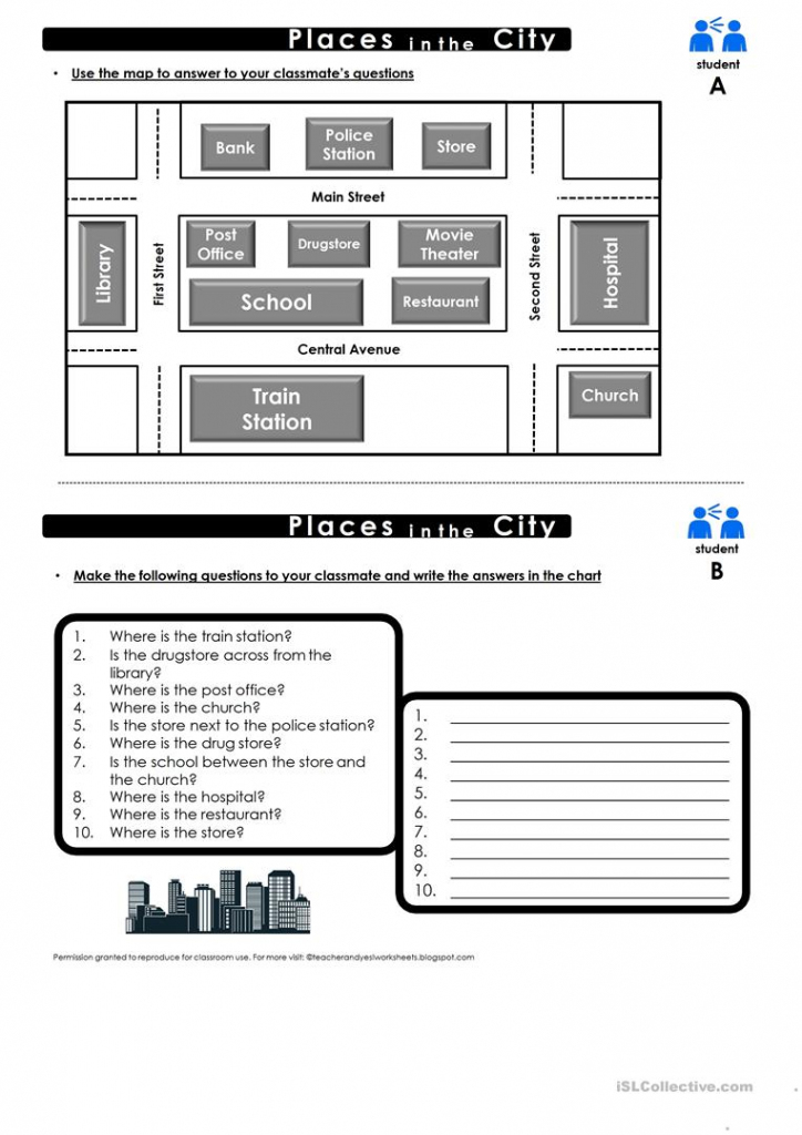 Prepositions Of Place Map Practice Worksheet - Free Esl Printable throughout Printable Map Activities
