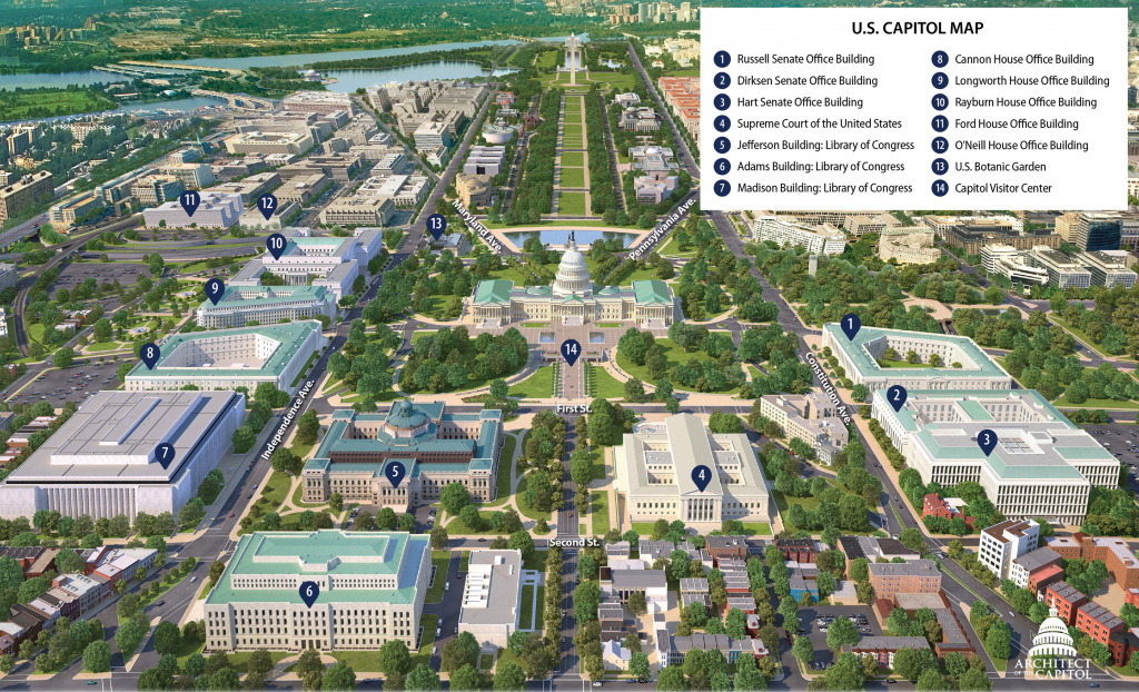 Print-Friendly Map Of Capitol Hill | Architect Of The Capitol within Printable Aerial Maps