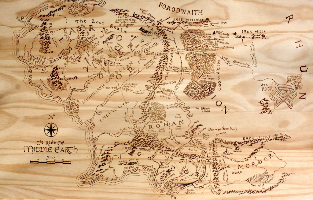 Print Of Hand-Burned Map Of Middle Earth Wood Burn | Etsy regarding Printable Map Of Middle Earth