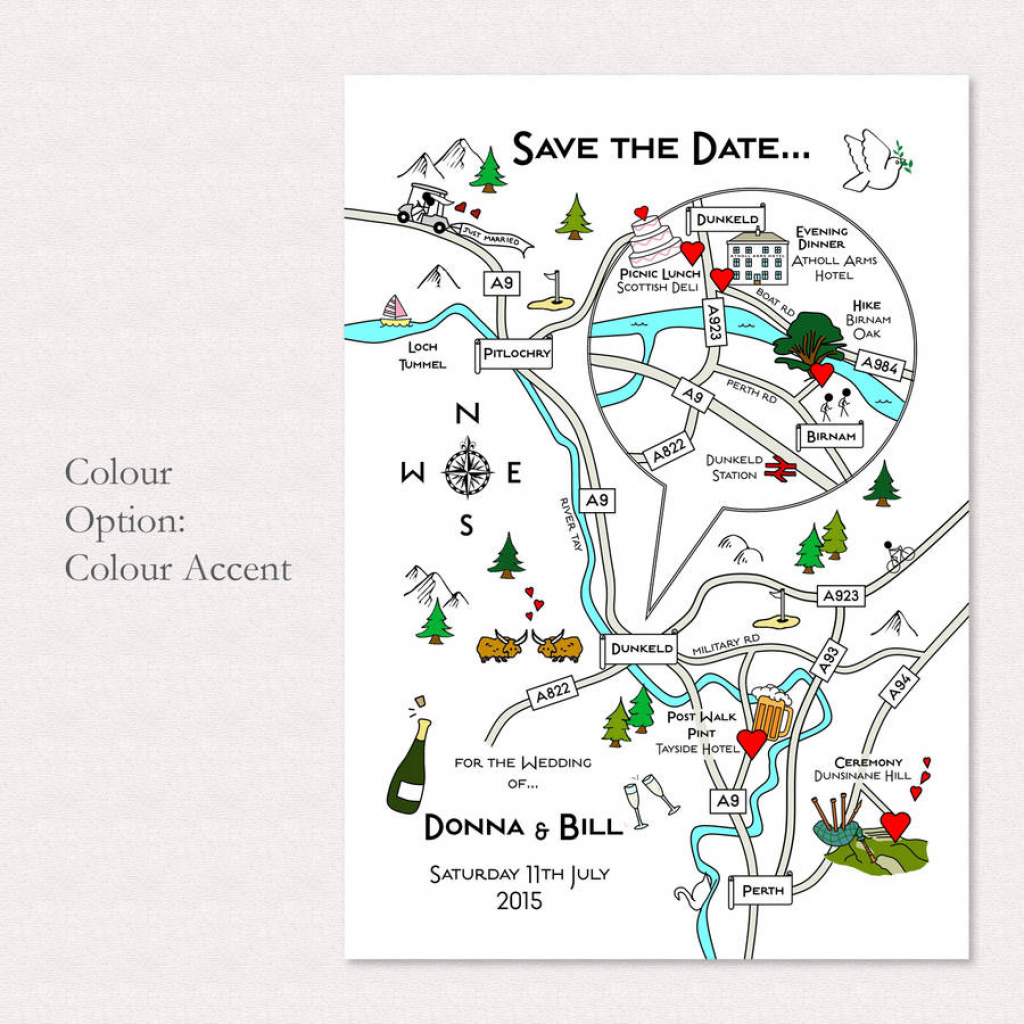 Print Your Own Colour Wedding Or Party Illustrated Mapcute Maps in Free Printable Wedding Maps