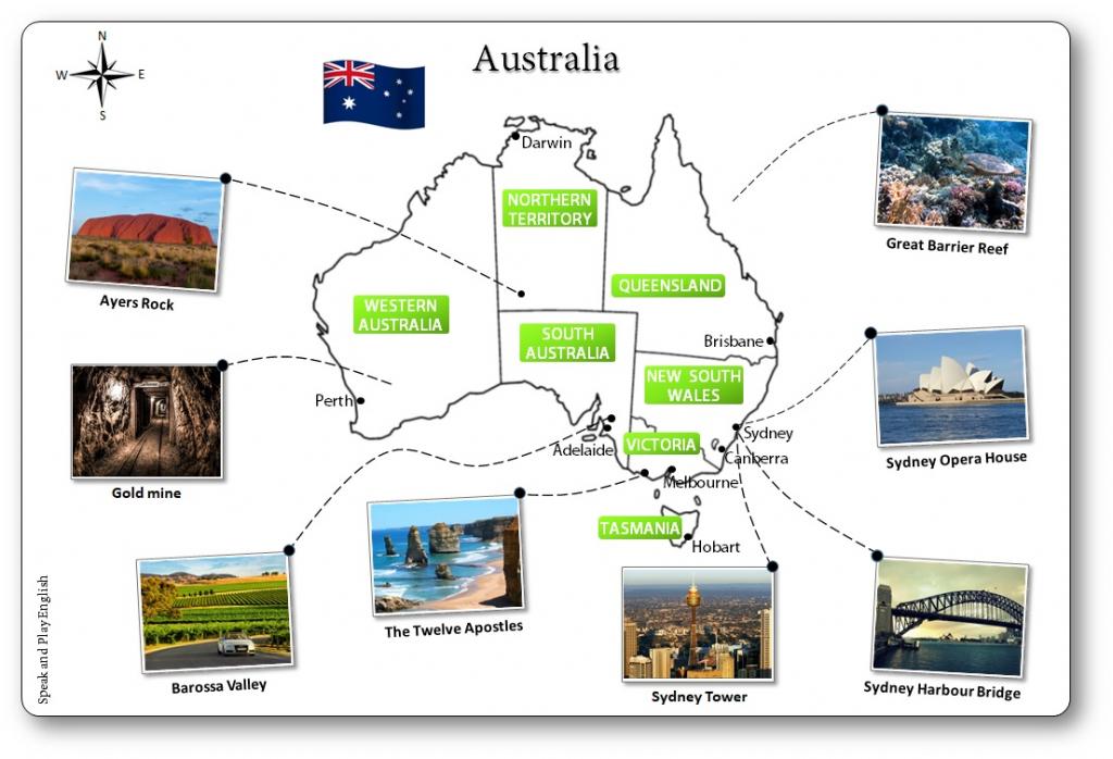 Printable Australia Illustrated Map For Children - Australian Map in Free Printable Map Of Australia