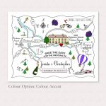 Printable Custom Map Wedding Invitation Save The Date Or Info   Etsy Intended For Printable Map Directions For Invitations