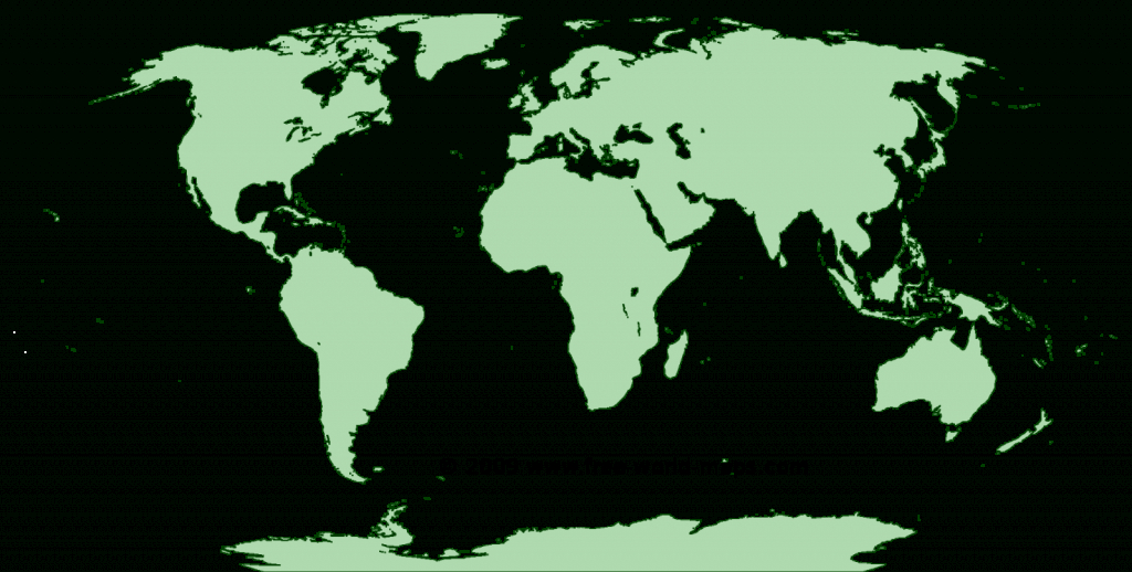 Printable Green-Transparent Blank Outline World Map C4 | Free World Maps with Free Printable World Map Images
