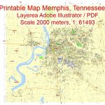 Printable Map Memphis, Tennessee Us, Exact Vector City Plan Illustrator Within Printable Map Of Tennessee With Cities