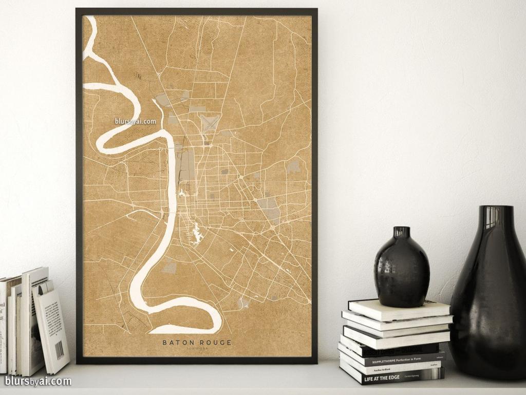 Printable Map Of Baton Rouge, Louisiana, In Vintage Distressed Style for Printable Map Of Baton Rouge