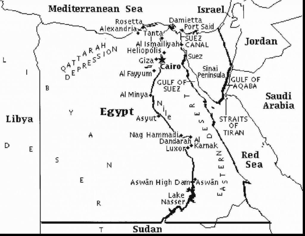 Printable Map Of Egypt And Travel Information | Download Free within Printable Map Of Egypt