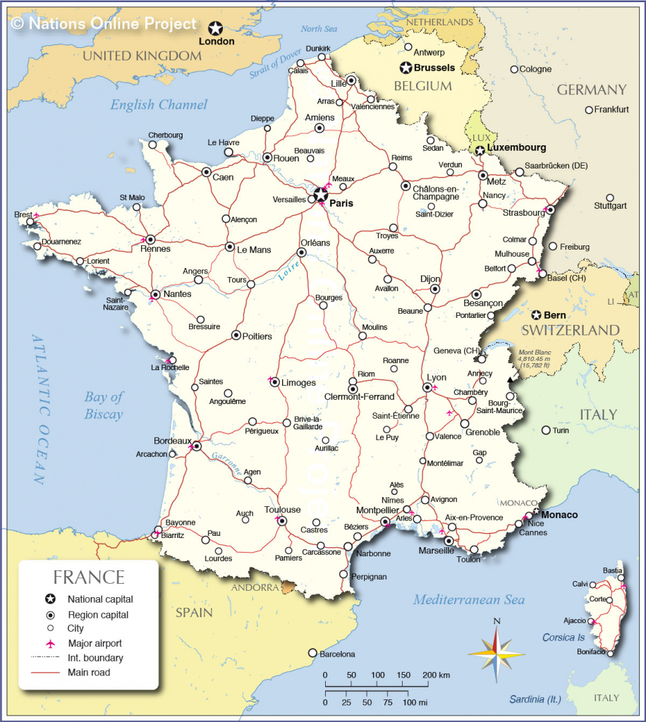 Printable Map Of France With Cities And Travel Information regarding Printable Map Of France With Cities And Towns