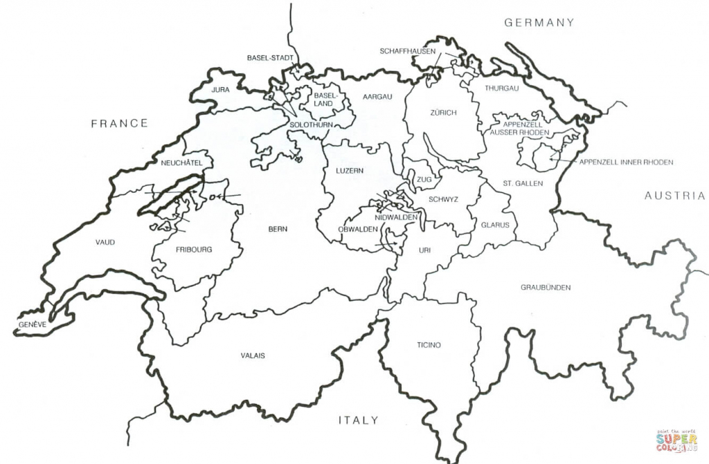Printable Map Of Switzerland And Travel Information | Download Free regarding Printable Map Of Switzerland