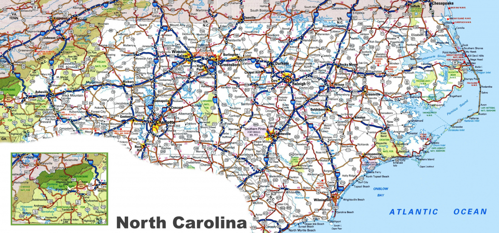Printable Map Of Us With Major Highways New North Carolina Road Map in Printable Map Of North Carolina