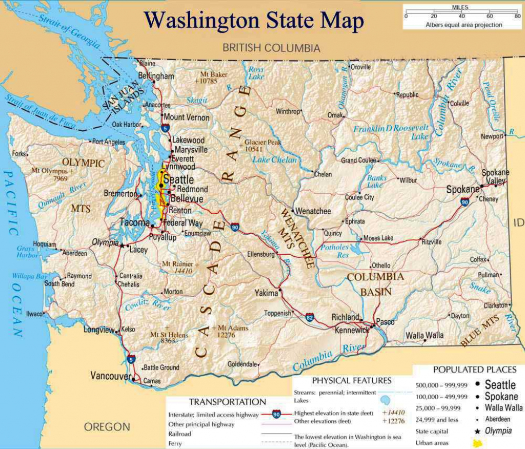 Printable Map Of Washington State And Travel Information | Download for Washington State Road Map Printable