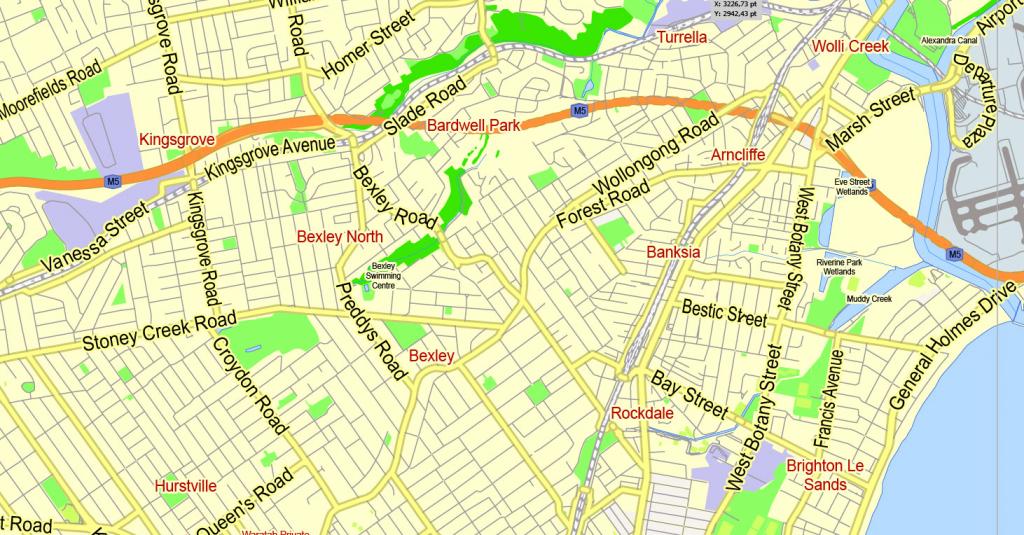 Printable Map Sydney, Australia, City Plan 2000 M Scale Adobe inside Printable Street Map Of Port Macquarie