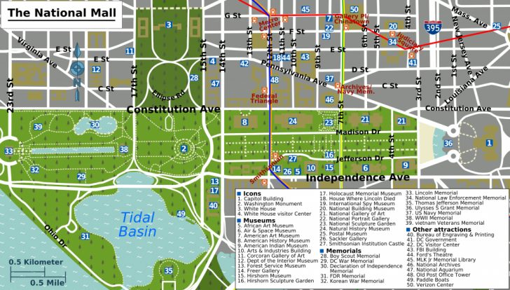 Washington Dc Tourist Map Printable