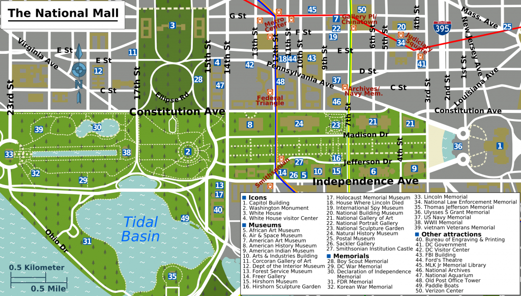 Printable Map Washington Dc | National Mall Map - Washington Dc inside Tourist Map Of Dc Printable
