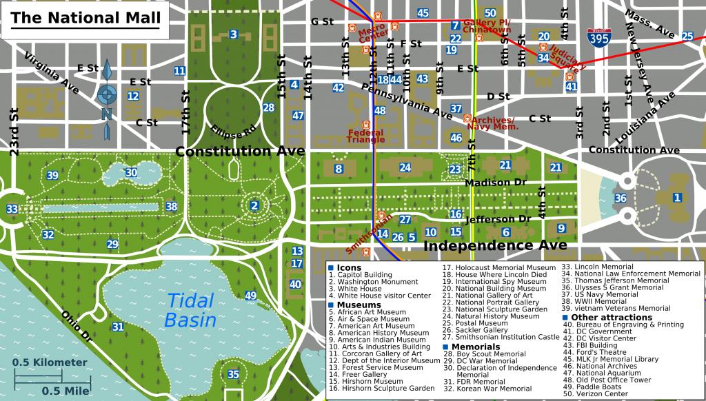 Printable Map Washington Dc | National Mall Map - Washington Dc with Printable Street Map Of Washington Dc