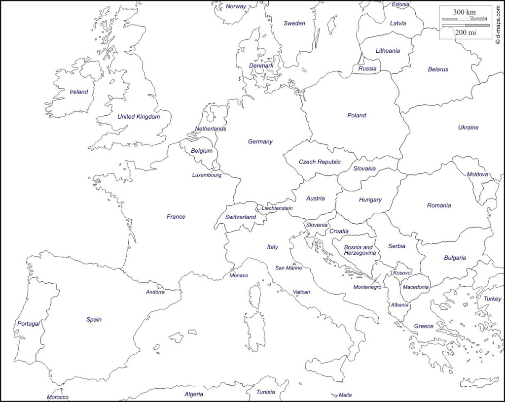 Printable Maps Of Europe - Earthwotkstrust with regard to Printable Map Of Europe