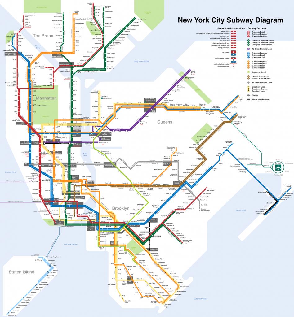 Printable New York City Map | New York City Subway Map Page Below in Printable New York Subway Map
