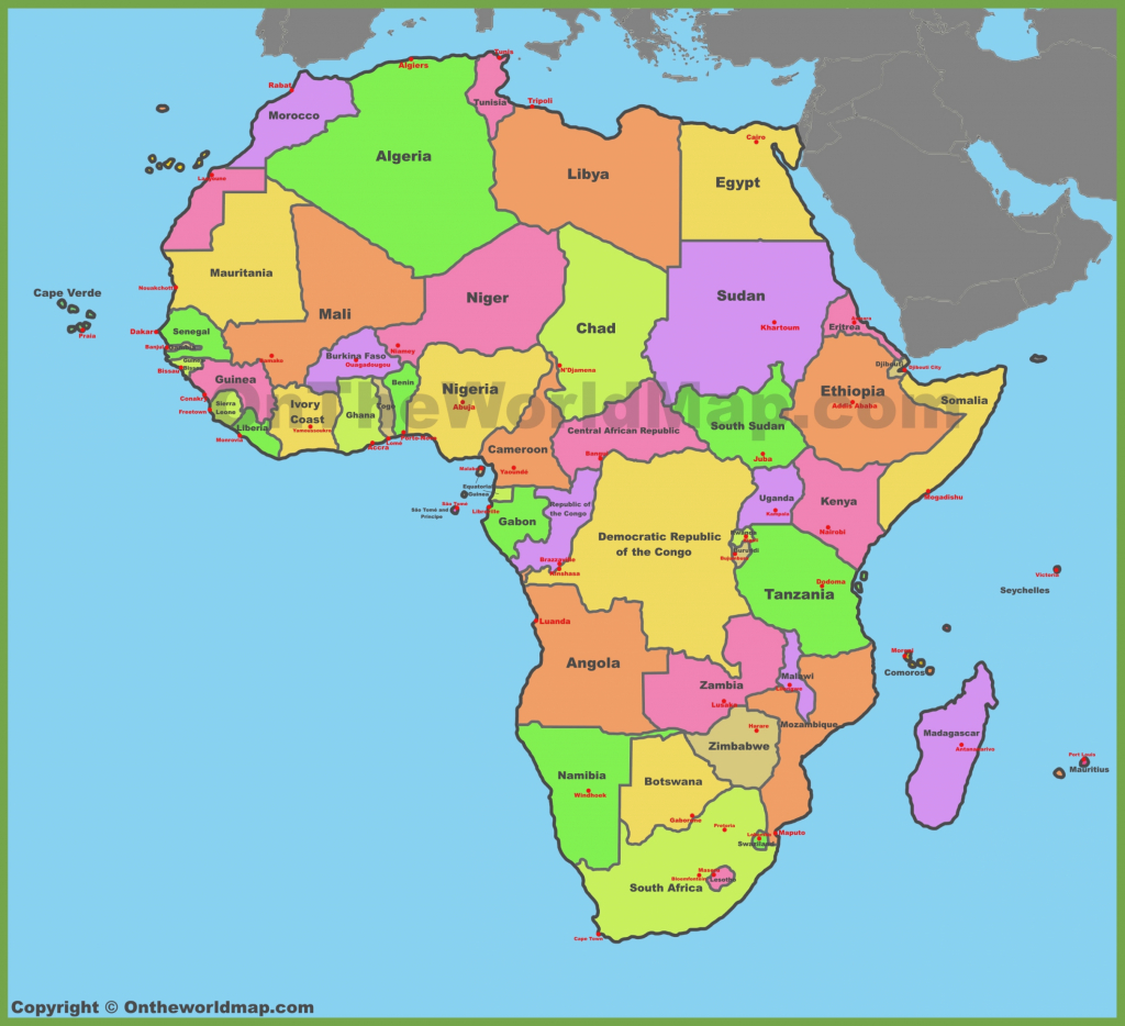 Printable Political Map Of Africa Free Downloads Map World Cities inside Printable Political Map Of Africa