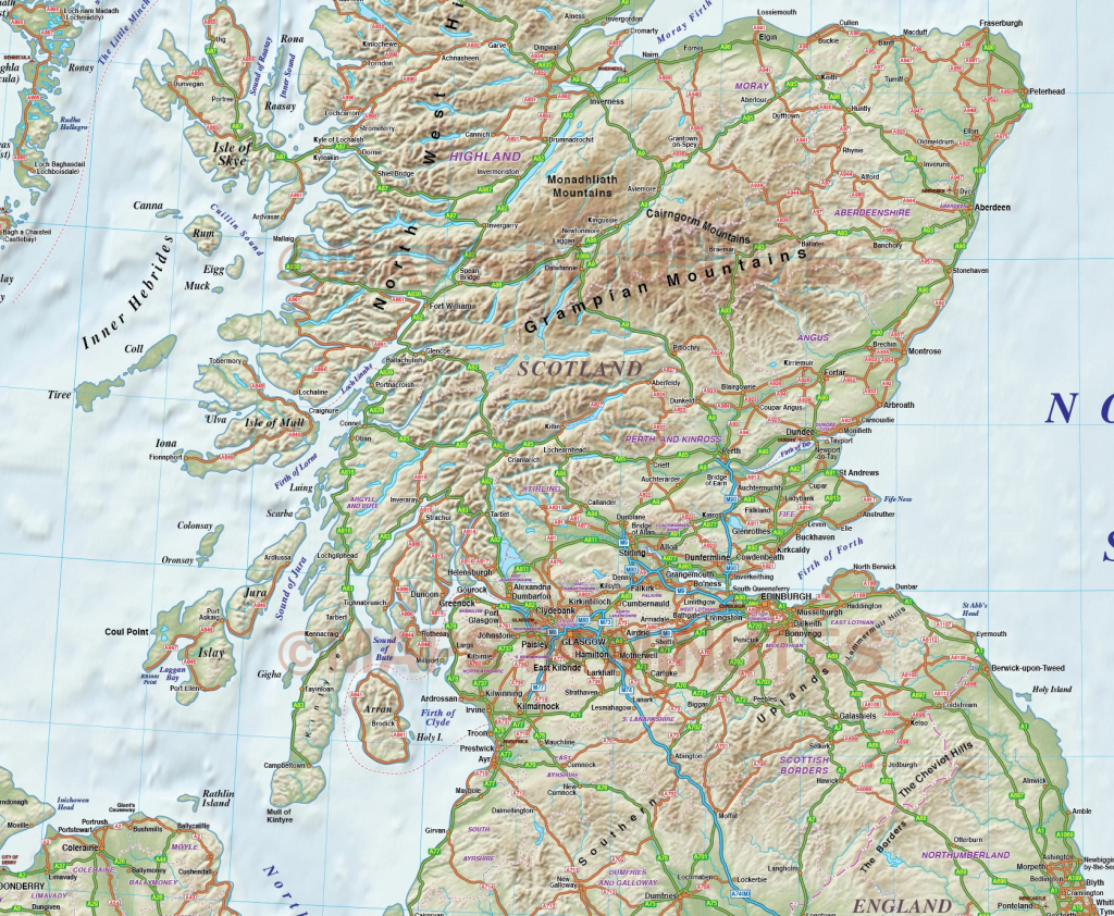Printable Road Map Of Scotland And Travel Information | Download pertaining to Detailed Map Of Scotland Printable