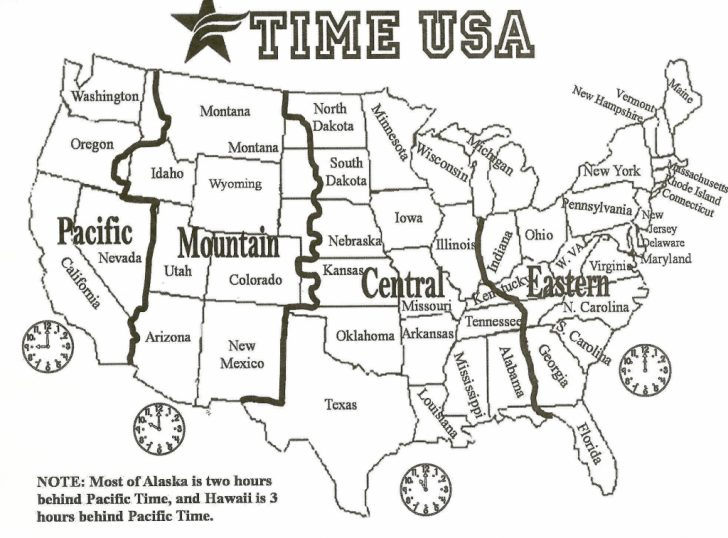 Printable Usa Time Zone Map