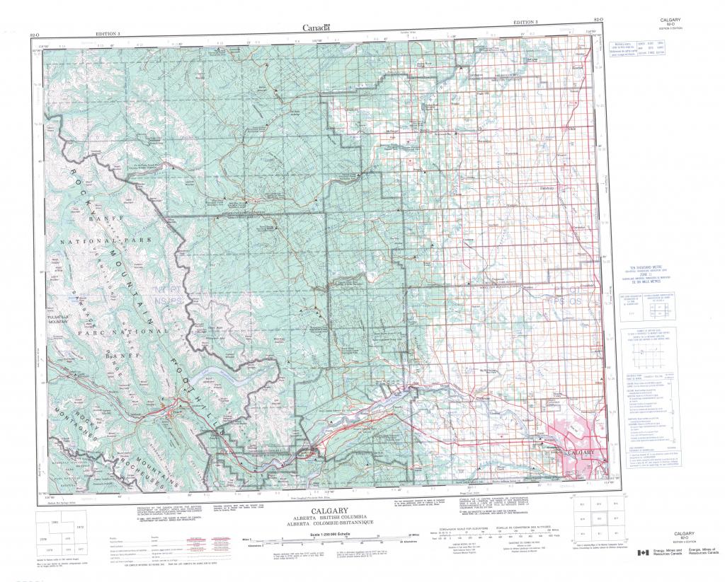 Printable Topographic Map Of Calgary 082O, Ab with regard to Printable Map Of Calgary