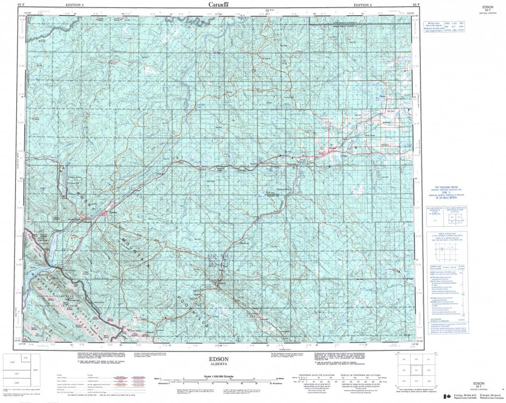 Printable Topographic Map Of Edson 083F, Ab for Printable Topo Maps