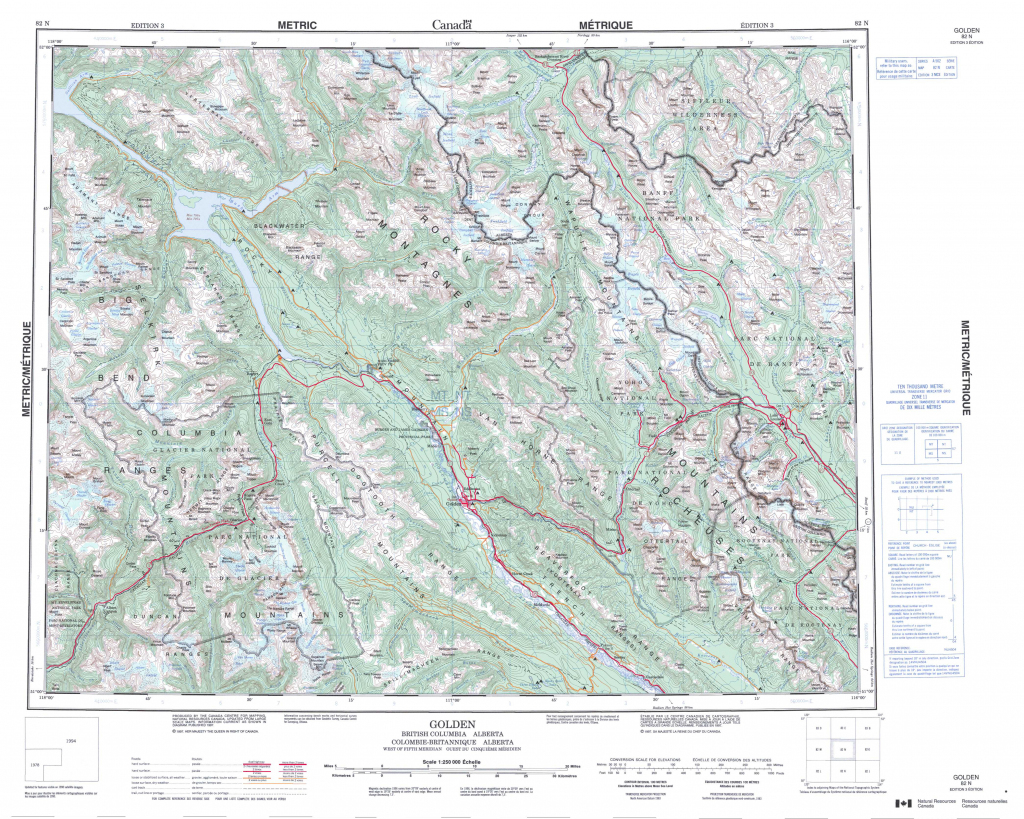 Printable Topographic Map Of Golden 082N, Ab - Printable Topo Maps regarding Topographic Map Printable