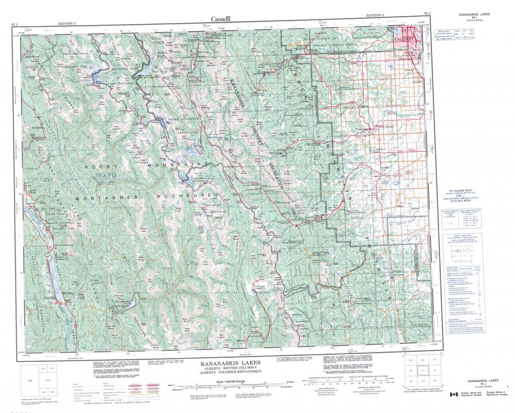Printable Topographic Map Of Kananaskis Lakes 082J, Ab pertaining to Free Printable Map Of Alberta