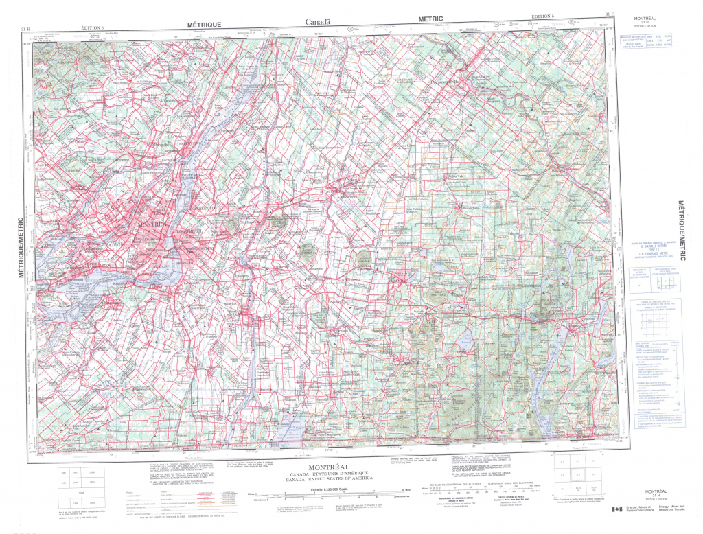 Printable Topographic Map Of Montreal 031H, Qc throughout Printable Topographic Maps