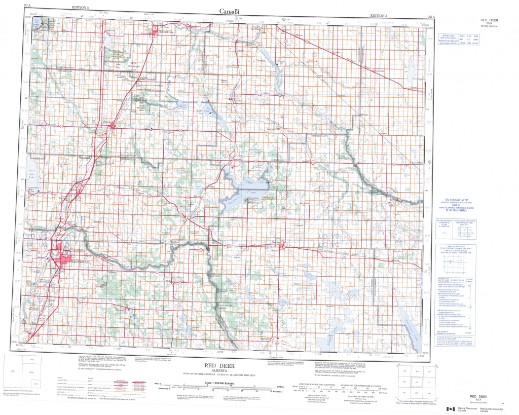 Printable Topographic Map Of Red Deer 083A, Ab intended for Printable Red Deer Map