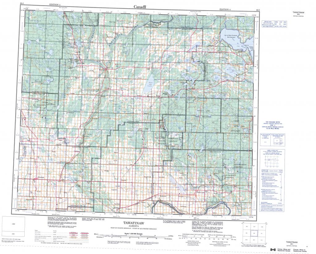 Printable Topographic Map Of Tawatinaw 083I, Ab regarding Free Printable Topographic Maps