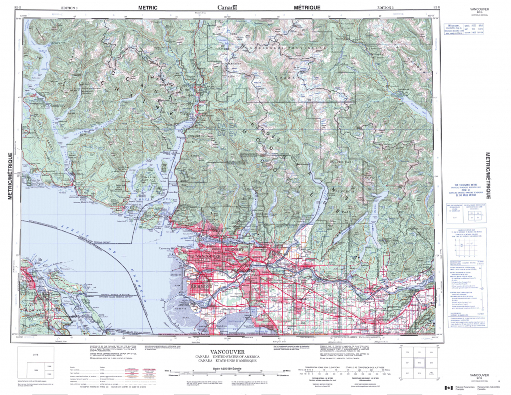 Printable Topographic Map Of Vancouver 092G, Bc regarding Printable Topo Maps