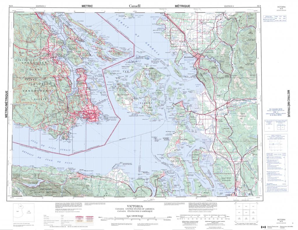 Printable Topographic Map Of Victoria 092B, Bc - Free Printable Topo inside Printable Topo Maps