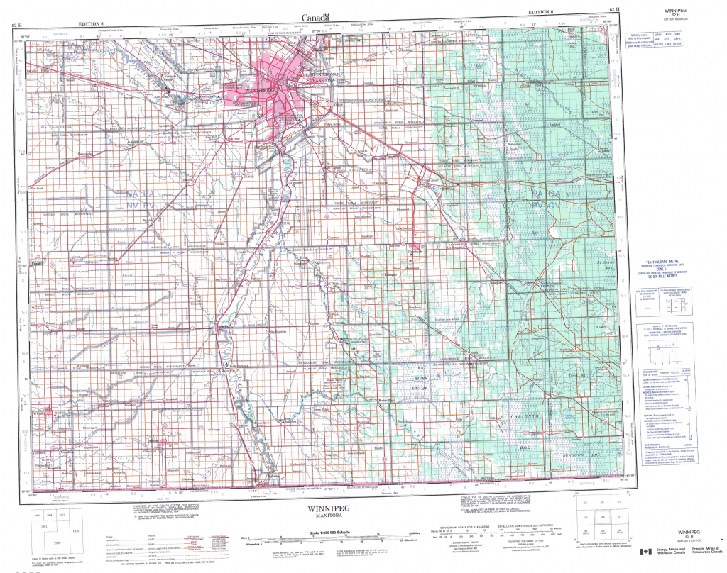 Printable Topographic Map Of Winnipeg 062H, Mb for Printable Topographic Maps