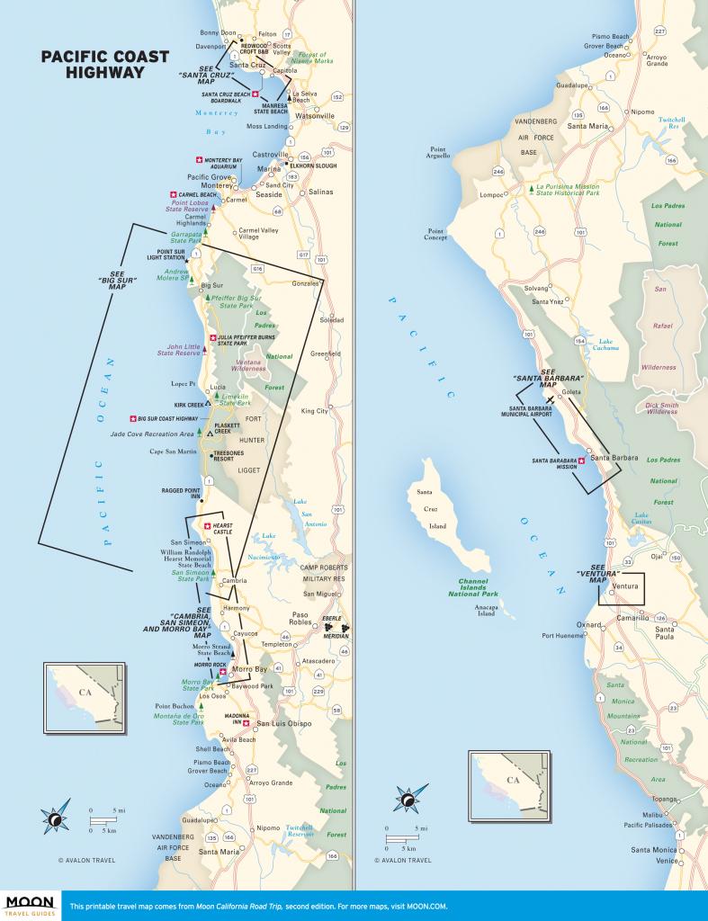 Printable Travel Maps Of Coastal California Moon Com Inside Map inside Printable Road Trip Maps