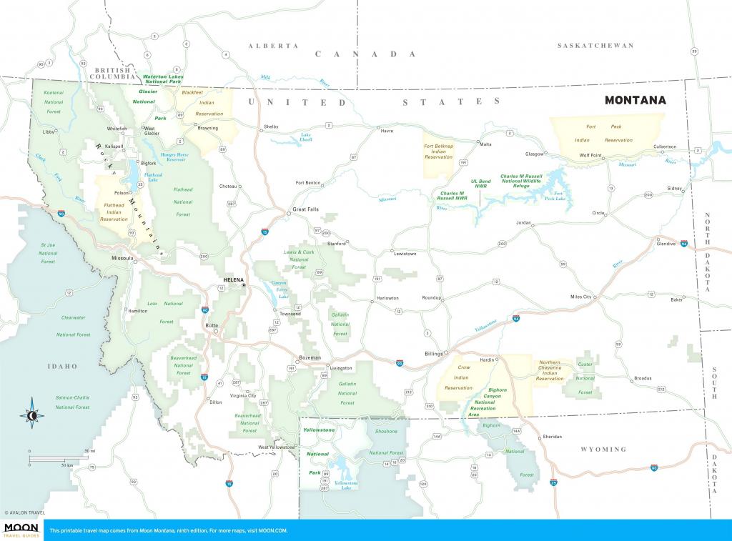 Printable Travel Maps Of Glacier National Park And Montana Moon in Printable Travel Maps