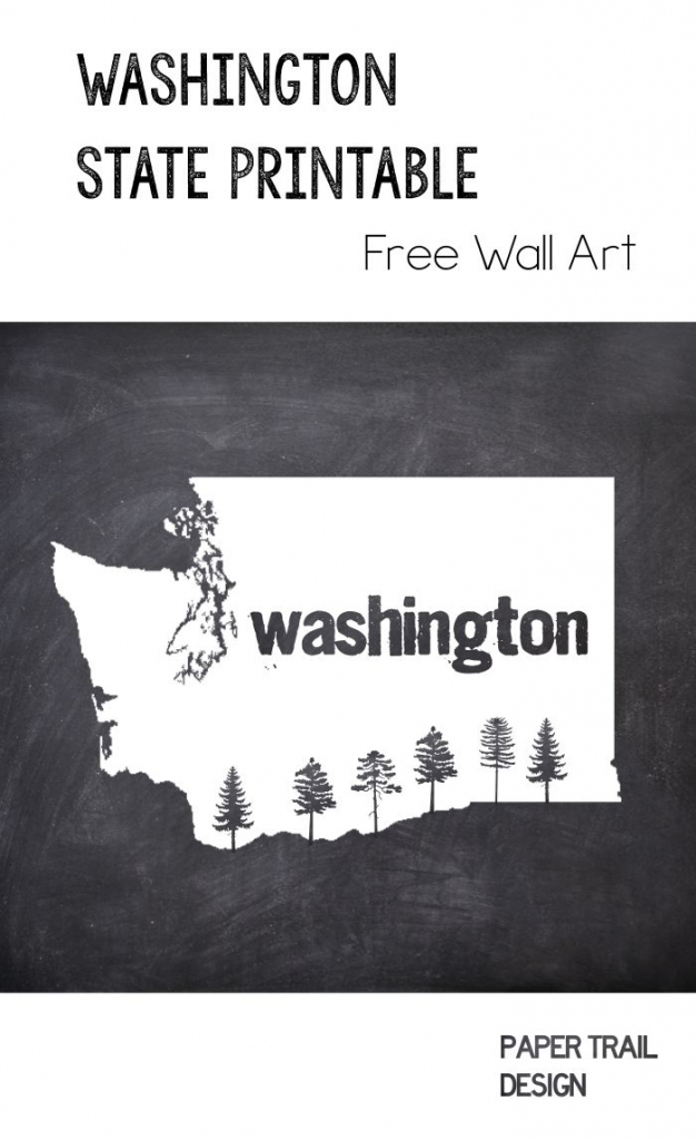 Printable Wall Art: Washington State Silhouette With Trees | Free pertaining to Free Printable Map Of Washington State