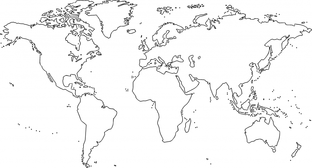 Printable World Map Black And White Fresh World Map Outline Free with regard to Free Printable World Map Outline
