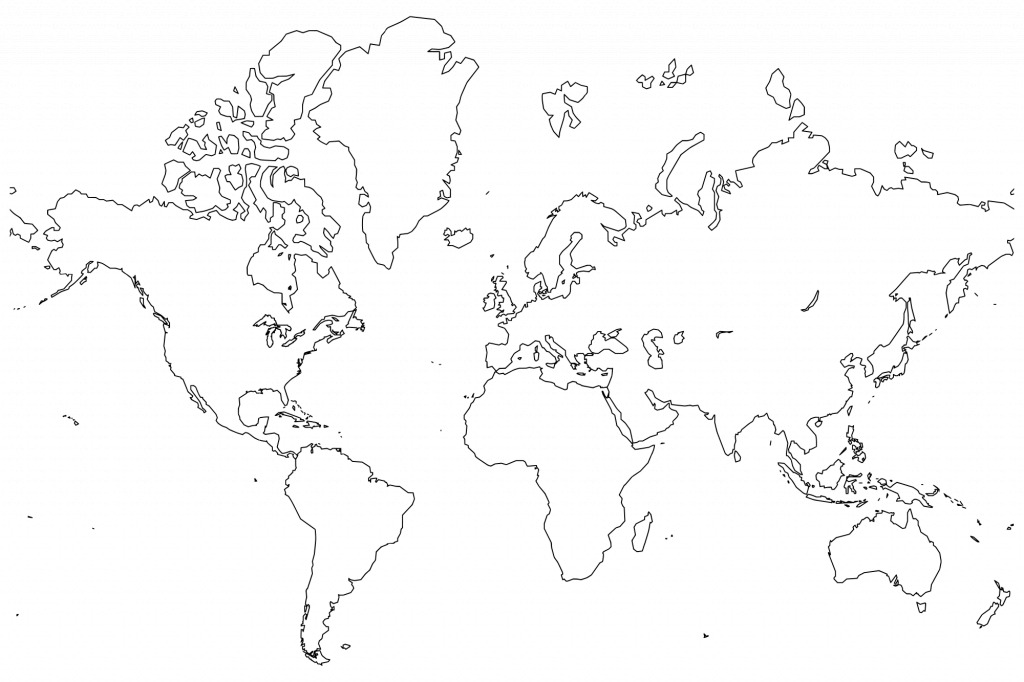 Printable World Maps In Black And White And Travel Information with regard to Large Printable World Map Outline