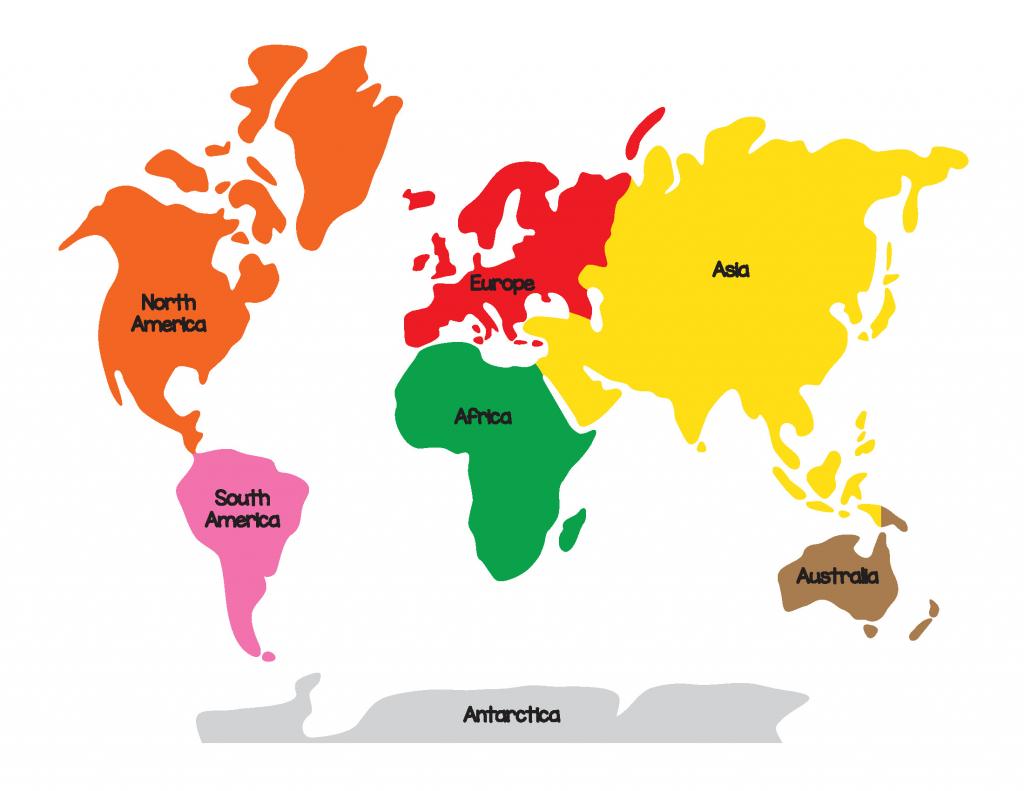 Printable World Maps Reference Montessori World Map And Continents inside Montessori World Map Printable