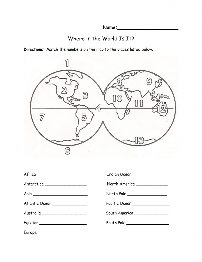 Printables Continents And Oceans Of The World Worksheet within Free Printable Map Of Continents And Oceans