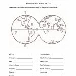 Printables Continents And Oceans Of The World Worksheet Within Map Of Continents And Oceans Printable