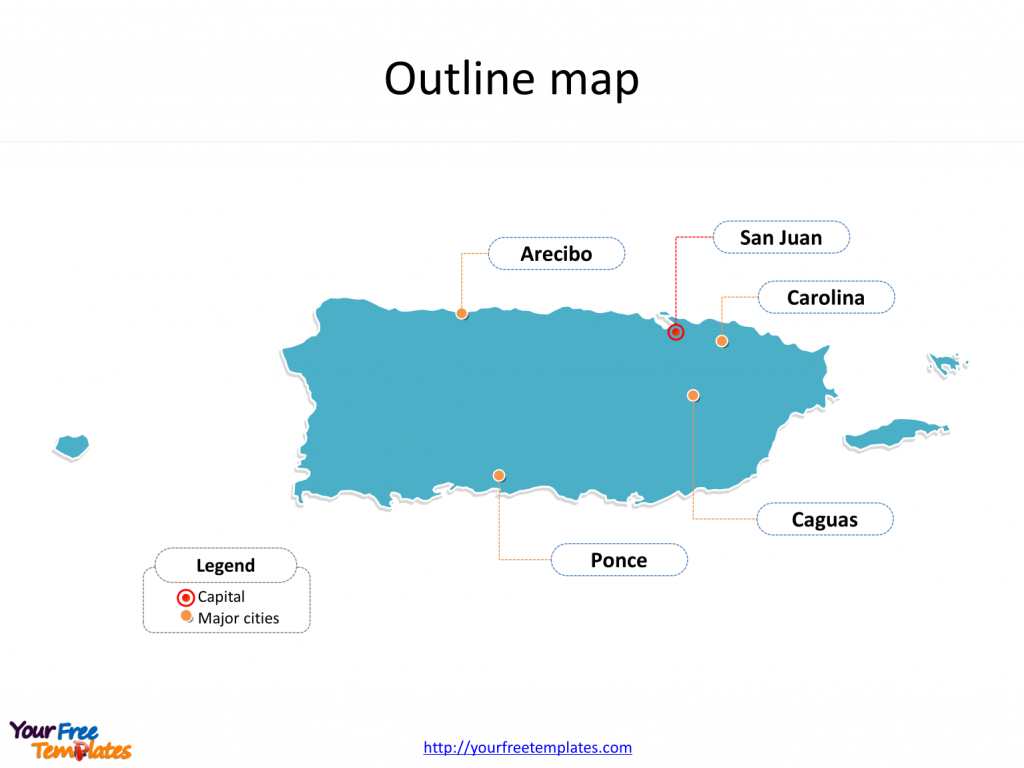 Puerto Rico Map Download - Free Powerpoint Templates within Outline Map Of Puerto Rico Printable